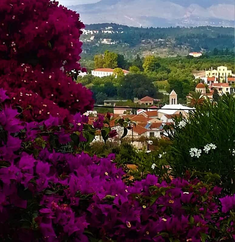 Gavalochori village viewed through the bougainvillea at Villa Koumos